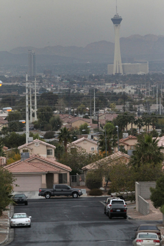 The Strip in Las Vegas is seen from S. Hollywood Boulevard near Las Vegas High School in Las Vegas Tuesday, Dec. 2, 2014. (Erik Verduzco/Las Vegas Review-Journal)
