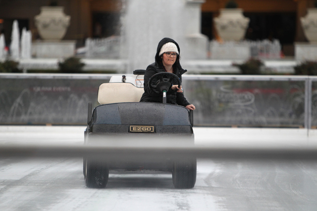 Heather, refused to give last name, works on the ice rink near Caesars Palace casino-hotel in Las Vegas Tuesday, Dec. 2, 2014. (Erik Verduzco/Las Vegas Review-Journal)