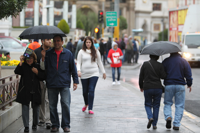 People walk down the Strip near The Linq in Las Vegas Tuesday, Dec. 2, 2014. (Erik Verduzco/Las Vegas Review-Journal)