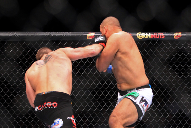 Todd Duffee knocks out Anthony Hamilton 31 seconds into the first round of their fight at UFC 181 Saturday, Dec. 6, 2014 at the Mandalay Bay Events Center. (Sam Morris/Las Vegas Review-Journal)