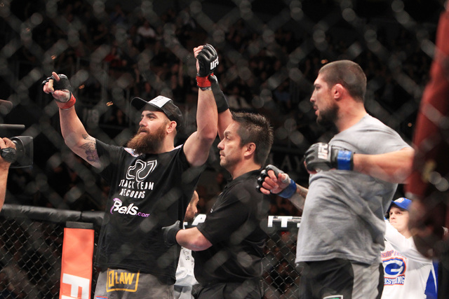 Travis Browne celebrates his victory over Brendan Schaub during their fight at UFC 181 Saturday, Dec. 6, 2014 at the Mandalay Bay Events Center. Browne won by TKO in the first. (Sam Morris/Las Veg ...