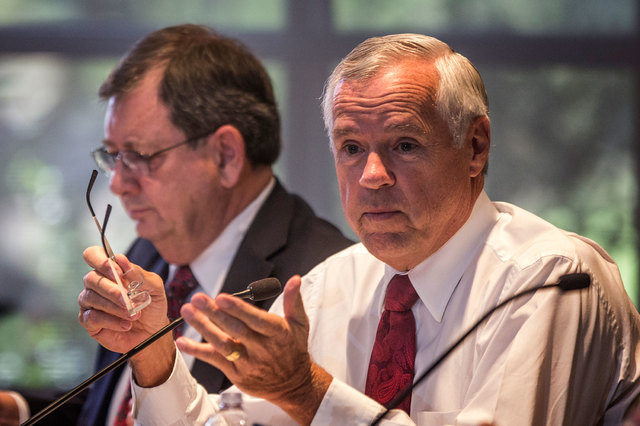 Higher education Chancellor Daniel Klaich, right, is shown with consultant Jerry Baker on Oct. 20.  (Jeff Scheid/Las Vegas Review-Journal)