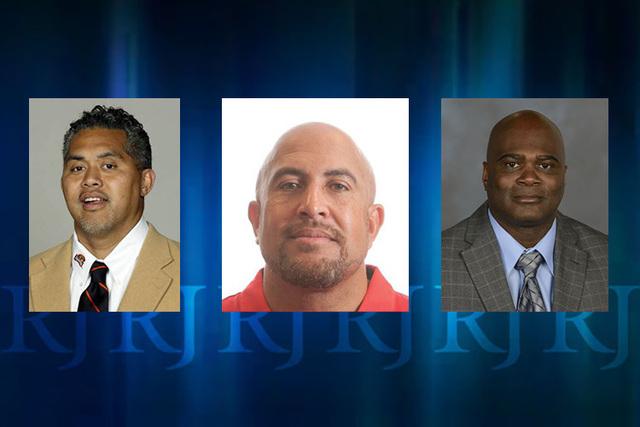 UNLV football coach Tony Sanchez announced three additions to his coaching staff on Thursday, Dec. 18, 2014. Joe Seumalo, left, Jamie Christian and J.D. Williams. (Courtesy)