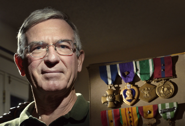 U.S. Marine Corps veteran Steve Lowery is shown at his sister's home near South Nellis Boulevard and New World Avenue in Las Vegas on Wednesday, Dec. 3, 2014. Lowery is dealing with the Veterans B ...