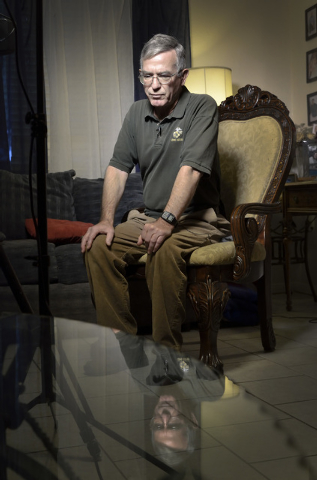 U.S. Marine Corps veteran Steve Lowery is shown during an interview at his sister's home near South Nellis Boulevard and New World Avenue in Las Vegas on Wednesday, Dec. 3, 2014. Lowery is dealing ...