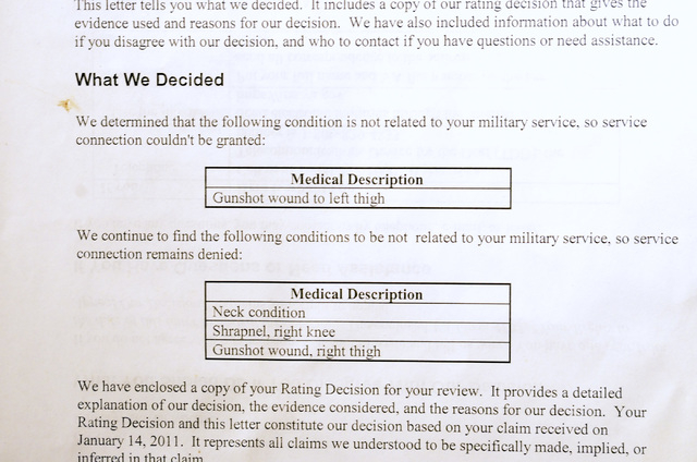 paperwork from veterans benefits administration office in reno denying service connected claims for us marine