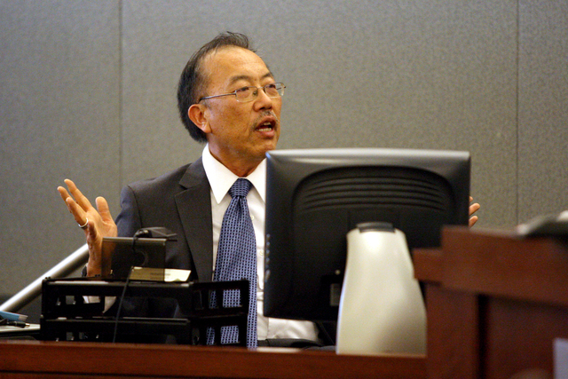 Psychiatrist, Dr. Joseph Chong-Sang Wu, presents his conclusions to the courtroom of Judge Michael P. Vallani at the Las Vegas Regional Justice Center after reviewing the brain scans of Derrick Va ...