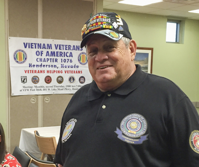 Vietnam Veterans of America Chapter 1076 President John Scaduto attends the luncheon his chapter held Dec. 3, 2014 at the Veterans Affairs Southeast Clinic in Henderson to recognize the clinic sta ...