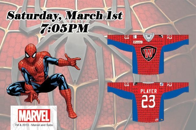 """Special jerseys were a favorite promotion for the Wranglers, including this Spider-Man-inspired """"Superhero Jersey.""""  (Las Vegas Wranglers)"""