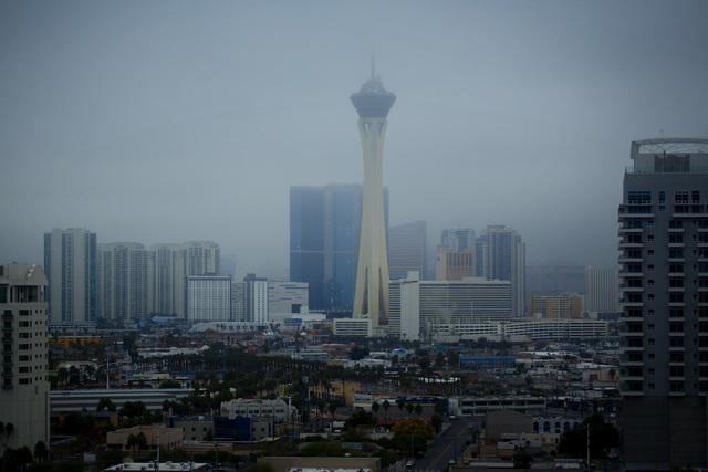 Clouds shroud the Las Vegas Strip on Wednesday, Dec. 03, 2014.  Forecast calls for mostly cloudy with a chance of showers. (Jeff Scheid/Las Vegas Review-Journal)