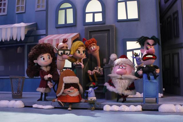 """Elf: Buddy's Musical Christmas"" follows the characters from the original ""Elf,"" from left to right, Emily Hobbs, Walter Hobbs, Michael Hobbs, Jovie, Buddy, Santa, Mr. Greenway. (Gary Krueger/Warn ..."