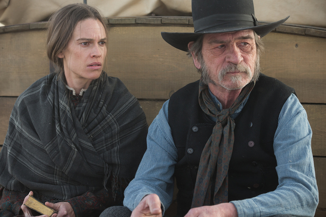"Hilary Swank and Tommy Lee Jones star in ""The Homesman."" (Dawn Jones/Roadside Attractions)"