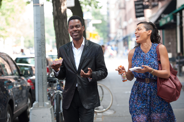 Left to right: Chris Rock is Andre Allen and Rosario Dawson is Chelsea Brown in TOP FIVE, from Paramount Pictures and IAC Films.
