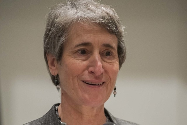 Secretary Sally Jewell of the U.S. Department of Interior speaks during the 2014 Western Governors Winter meeting at the Four Seasons Hotel in Las Vegas on Saturday, Dec. 6, 2014. (Martin S. Fuent ...