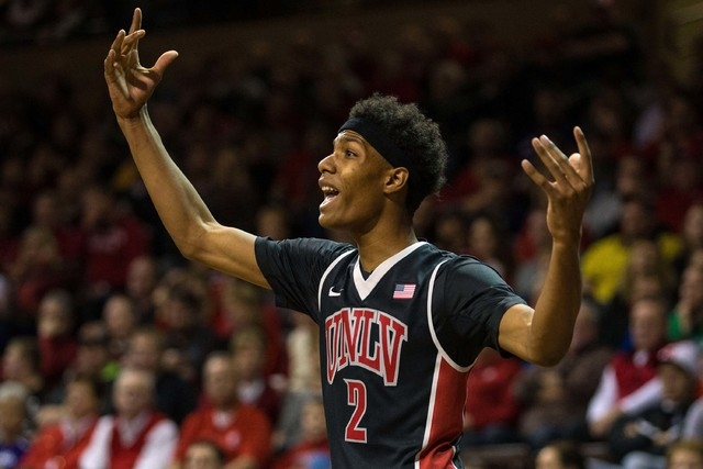 UNLV Rebels guard Patrick McCaw (2) celebrates during the first half against the South Dakota Coyotes at Sanford Pentagon in Sioux Falls, S.D., on Saturday, Dec. 13, 2014. (Brace Hemmelgarn-USA TO ...