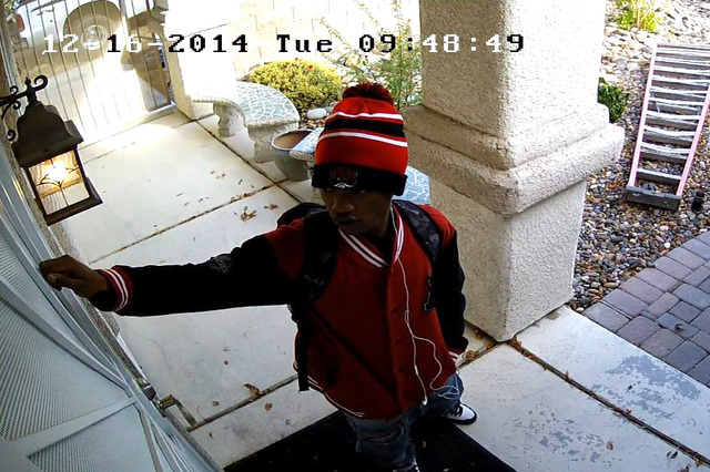 Police are trying to identify a burglar who broke into a house on the 2800 block of Jeffrey Pines Street on Tuesday.  (Courtesy Facebook)