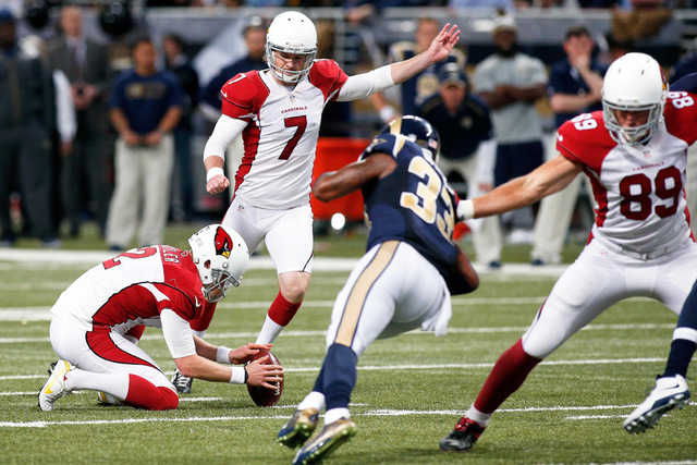 Arizona Cardinals kicker Chandler Catanzaro (7) kicks a field goal during the second half of a football game against the St. Louis Rams at the Edward Jones Dome. The Cardinals defeated the Rams 12 ...