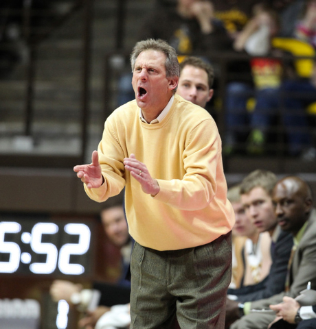 Wyoming Cowboys head coach Larry Shyatt reacts against the Southern Jaguars during the first half at Arena-Auditorium. The Cowboys beat the Jaguars 57-39. (Troy Babbitt/USA TODAY Sports)