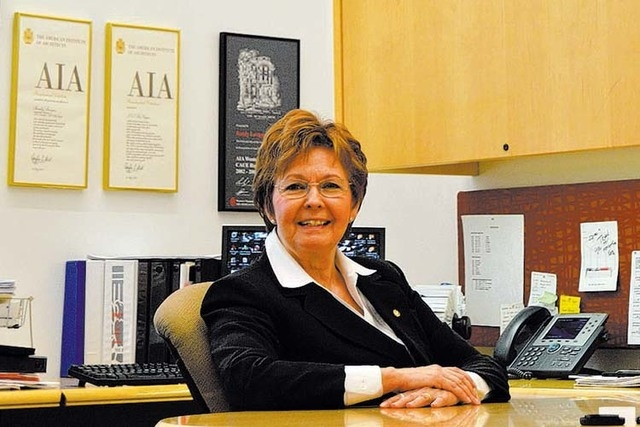 Randy Lavigne is surrounded by awards in her office at the American Institute of Architects on Fourth Street in downtown Las Vegas. She is the chapter's executive director. (Stephanie Annis/Specia ...