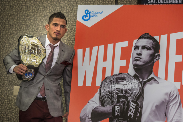 UFC Lightweight Champion Anthony Pettis stands besides oversized Wheaties box during Media Day at MGM Grand on Thursday, Dec. 03, 2014. He will be fighting Gilbert Melendez  for the UFC Lightweigh ...