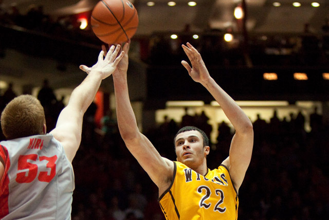 Larry Nance Jr. of Wyoming, who's coming back from a knee injury, was picked as the preseason player of the year in the Mountain West. (AP Photo/Eric Draper)