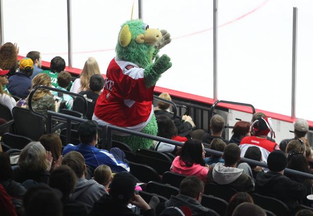 Las Vegas Wranglers fans cheered loudy for The Duke, the team's mascot. (Chase Stevens/Las Vegas Review-Journal)
