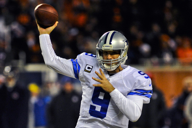 Dallas Cowboys quarterback Tony Romo (9) throws in the first half of their game against the Chicago Bears at Soldier Field. (Matt Marton-USA TODAY Sports)