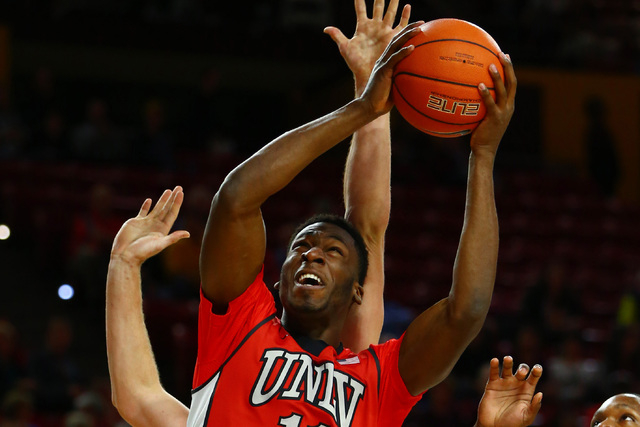 UNLV Runnin' Rebels forward Goodluck Okonoboh (11) drives to the basket in the first half against the Arizona State Sun Devils at Wells-Fargo Arena. (Mark J. Rebilas-USA TODAY Sports)