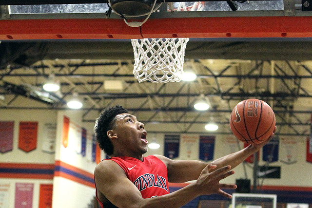 Findlay Prep guard Allonzo Trier (4) goes up for a shot against Wasatch Academy in the first half of their Tarkanian Classic boys basketball tournament game at Bishop Gorman High School in Las Veg ...