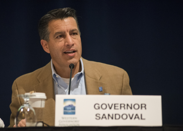 Nevada Gov. Brian Sandoval speaks during the Western Governors Association's meeting at the Four Seasons on Saturday, Dec. 6, 2014. Sandoval has promised to find more revenue to boost education  ...