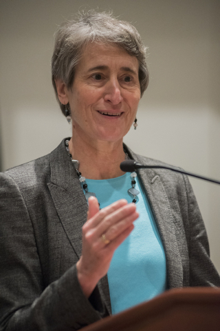 U.S. Department of Interior Secretary Sally Jewell speaks during the 2014 Western Governors Winter meeting at the Four Seasons Hotel in Las Vegas on Saturday, Dec. 6, 2014. (Martin S. Fuentes/Las  ...
