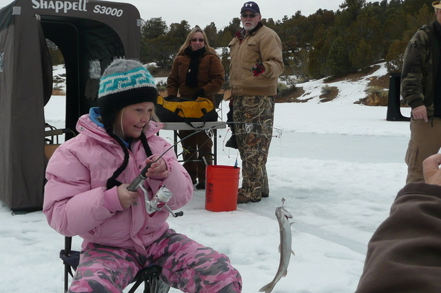 When winters are cold enough, ice fishing is a popular pastime at Cave Lake just south of Ely. (COURTESY PHOTO)