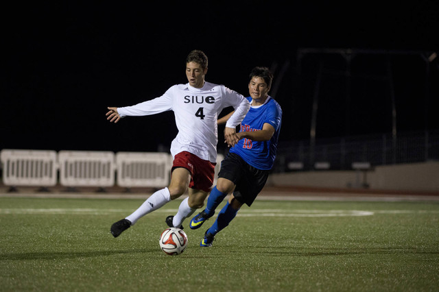 Matt Polster was the Nevada Gatorade Player of the Year when he was at Palo Verde. Polster (4) now plays for Southern Illinois-Edwardsville and is shown playing DePaul on Sept. 13, 2014. (Danny Re ...