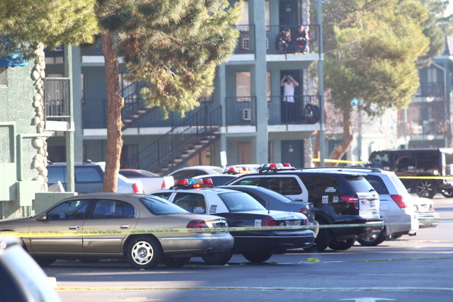 A southeast apartment complex is being evacuated after a man armed with a large knife inside one of the units threatened to harm himself Thursday morning, according to Las Vegas police. (Chase Ste ...