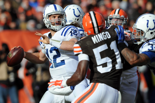 AFC South: Indianapolis Colts -- Quarterback Andrew Luck (12) looks to pass against the Cleveland Browns during the first quarter at FirstEnergy Stadium on Dec. 7, 2014. (Ken Blaze-USA TODAY Sports)