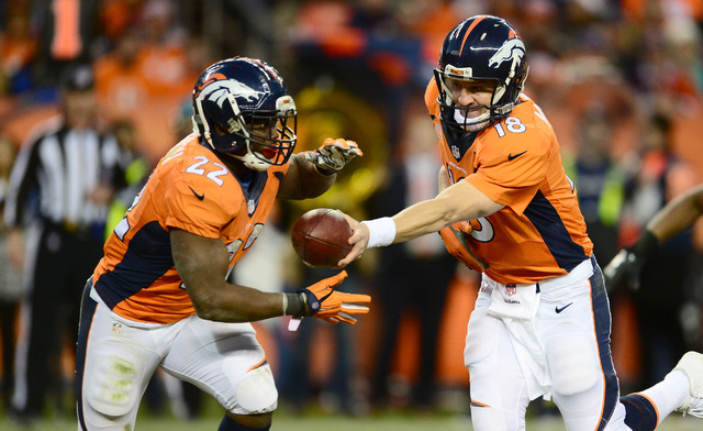 AFC West: Denver Broncos -- Quarterback Peyton Manning (18) hands off to running back C.J. Anderson (22) in the fourth quarter against the Buffalo Bills at Sports Authority Field at Mile High. The ...