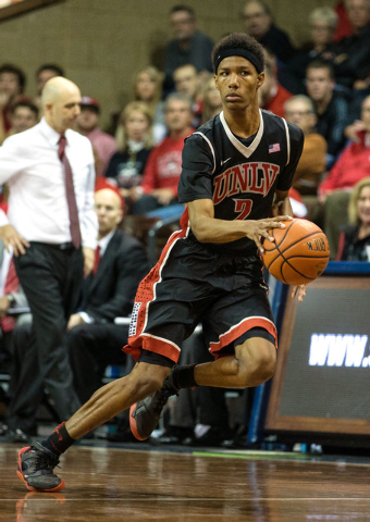 UNLV Rebels guard Patrick McCaw (2) dribbles during the second half against the South Dakota Coyotes at Sanford Pentagon. UNLV defeated South Dakota  75-61 in Sioux Falls on Saturday, Dec. 13, 201 ...