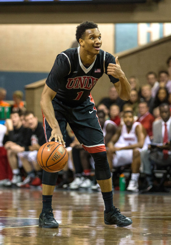 UNLV Rebels guard Rashad Vaughn (1) dribbles during the second half against the South Dakota Coyotes at Sanford Pentagon. UNLV defeated South Dakota  75-61 in Sioux Falls on Saturday, Dec. 13, 201 ...