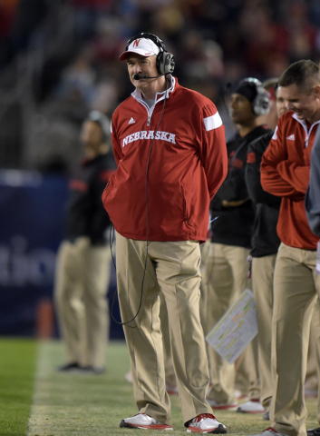 Nebraska Cornhuskers coach Barney Cotton reacts against the Southern California Trojans in the 2014 Holiday Bowl at Qualcomm Stadium. Cotton is UNLV's new offensive coordinator. (Kirby Lee-USA TOD ...