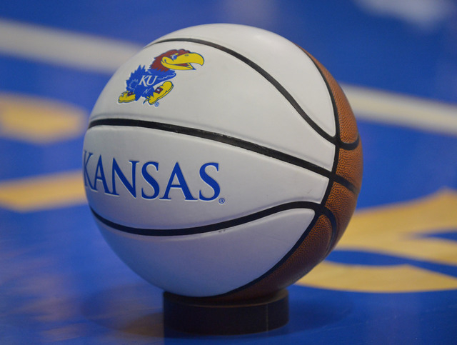General view of a souvenir basketball on the court during the first half of the game between the Kansas Jayhawks and Kent State Golden Flashes at Allen Fieldhouse. (Denny Medley-USA TODAY Sports)