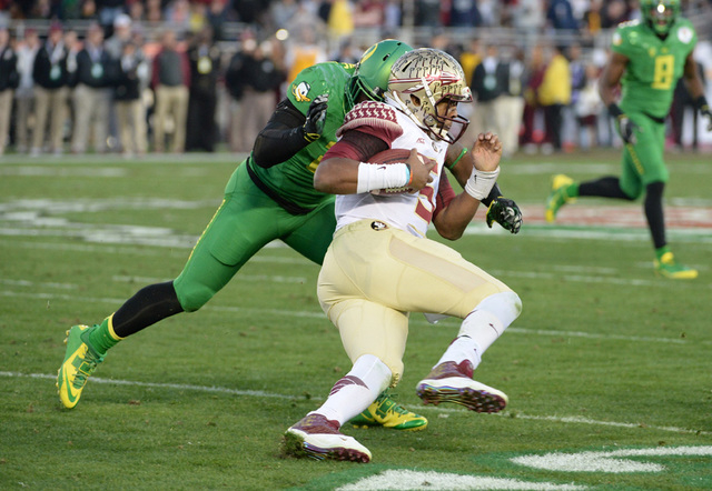 Florida State Seminoles quarterback Jameis Winston (5) runs with the ball during the second half of the 2015 Rose Bowl college football game against the Oregon Ducks at Rose Bowl. (Jayne Kamin-Onc ...