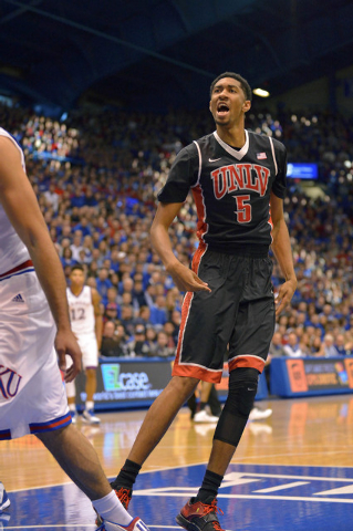 Jan 4, 2015; Lawrence, KS, USA; UNLV Rebels forward Christian Wood (5) celebrates after a score during the first half against the Kansas Jayhawks at Allen Fieldhouse. (Denny Medley-USA TODAY Sports)
