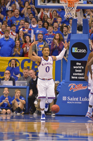 Kansas Jayhawks guard Frank Mason III (0) celebrates after a score during the first half against the UNLV Rebels at Allen Fieldhouse, Sunday, Jan. 4, 2015. (Denny Medley/USA TODAY Sports)