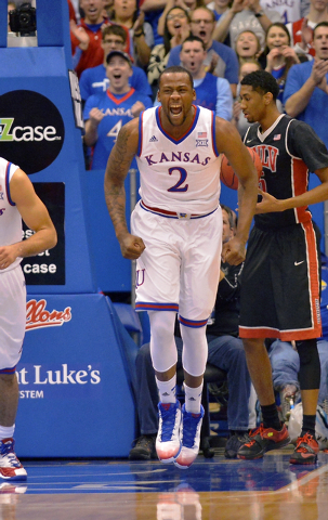 Kansas Jayhawks forward Cliff Alexander (2) celebrates after dunking the ball during the first half against the UNLV Rebels at Allen Fieldhouse, Sunday, Jan. 4, 2015. (Denny Medley/USA TODAY Sports)