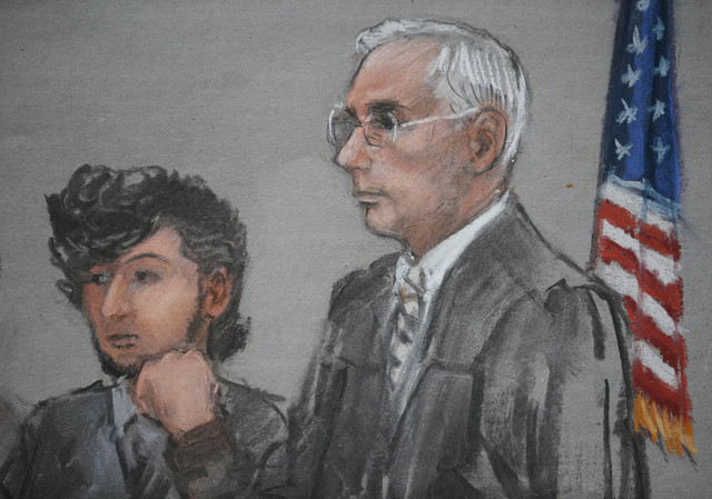 Accused Boston Marathon bomber Dzhokhar Tsarnaev is shown in a courtroom sketch next to Judge George O'Toole (R) on the first day of jury selection at the federal courthouse in Boston, Massachuset ...