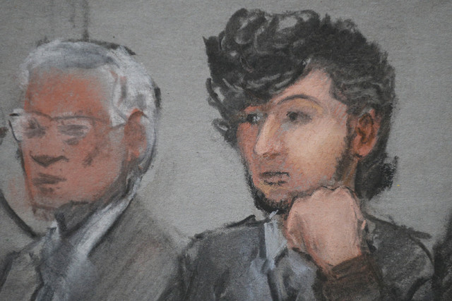 Accused Boston Marathon bomber Dzhokhar Tsarnaev (R) is shown in a courtroom sketch on the first day of jury selection at the federal courthouse in Boston, Massachusetts January 5, 2015. A U.S. ju ...