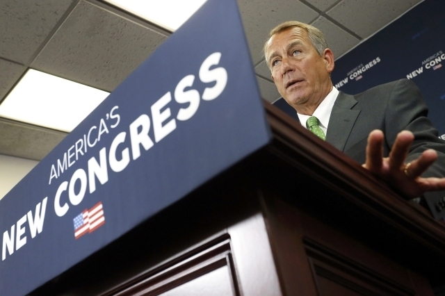 U.S. House Speaker John Boehner, R-Ohio, speaks to reporters at a news conference following a Republican caucus meeting at the U.S. Capitol in Washington, Wednesday, Jan. 7, 2015. (Reuters/Jonatha ...