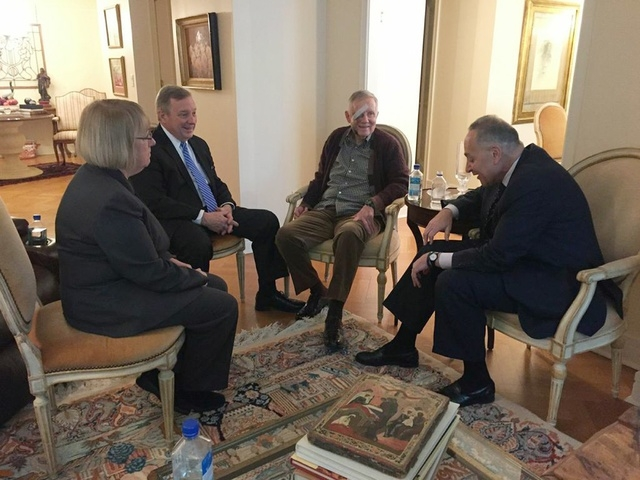 A recovering U.S. Senate Democratic leader Harry Reid  (D-NV) (2nd R) meets with members of his leadership team - U.S. Senators Patty Murray (D-WA) (L), Richard Durbin (D-IL) (2nd L), and Charles  ...