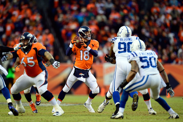 Jan 11, 2015; Denver, CO, USA; Denver Broncos quarterback Peyton Manning (18) looks to pass against the Indianapolis Colts during the second quarter in the 2014 AFC Divisional playoff football gam ...