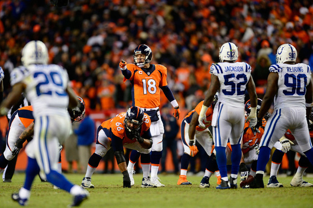 Jan 11, 2015; Denver, CO, USA; Denver Broncos quarterback Peyton Manning (18) gestures before a snap against the Indianapolis Colts during the third quarter in the 2014 AFC Divisional playoff foot ...